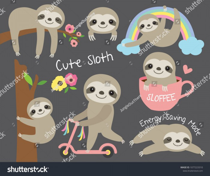 Vector Illustration Of Cute Baby Sloth In Various Activities Such