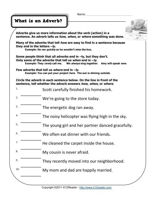 All About Adverbs Worksheets 99worksheets