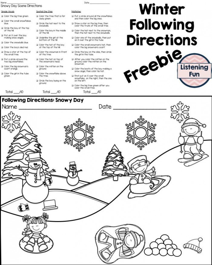 Winter Following Directions Coloring Printable With Images