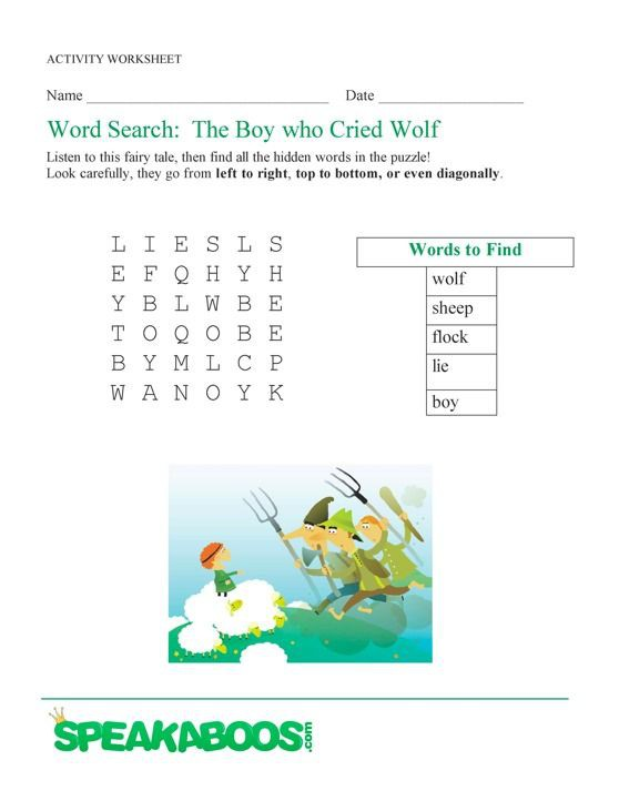 Word Search The Boy Who Cried Wolf