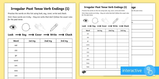 Year  Spelling Practice Irregular Past Tense Verb Endings