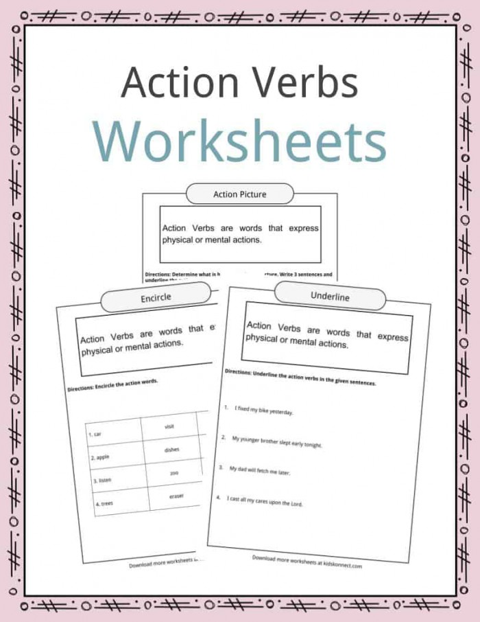 Action Verbs Worksheets  Examples  Sentences   Definition For Kids