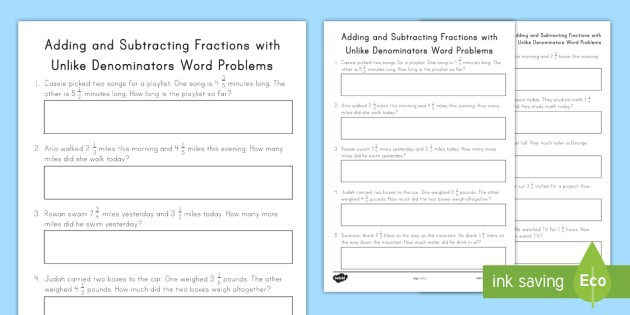 Adding And Subtracting Fractions With Unlike Denominators Word
