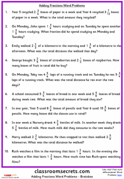 Fraction Word Problems: #2