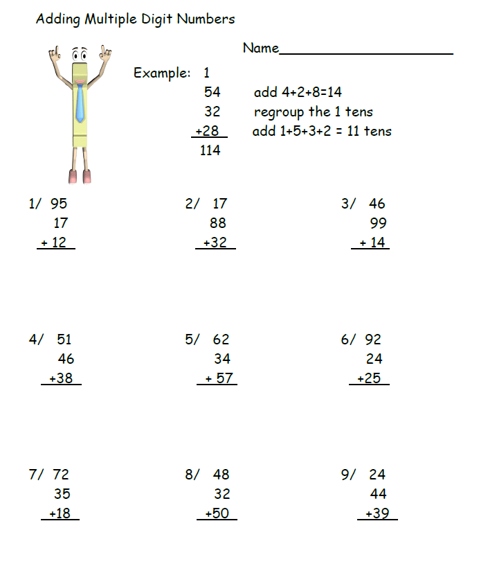 Adding Multiple Digit Numbers Worksheet With Images