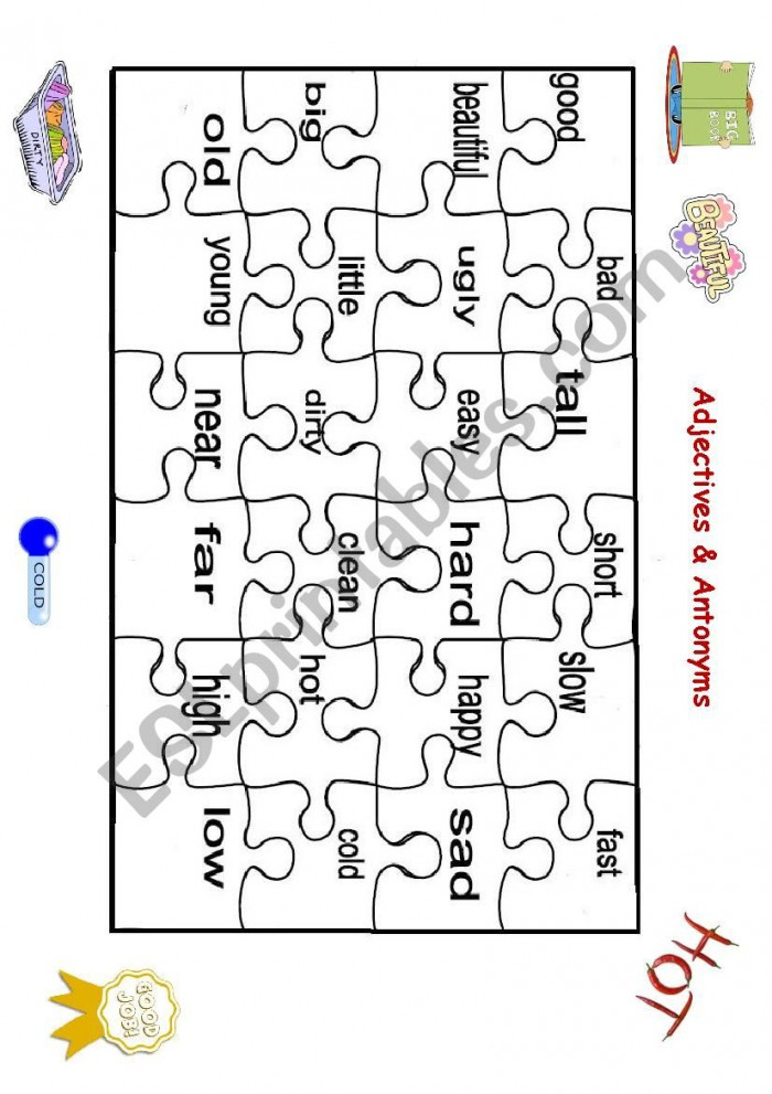 Adjectives And Antonyms Puzzle Part