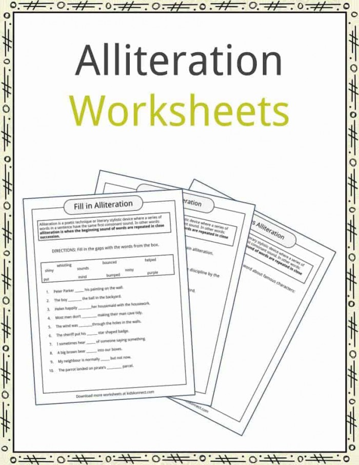 Alliteration Examples  Definition   Worksheets