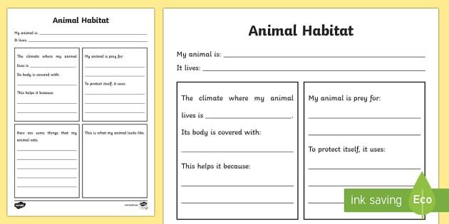 Animal Habitat Fact File Worksheet
