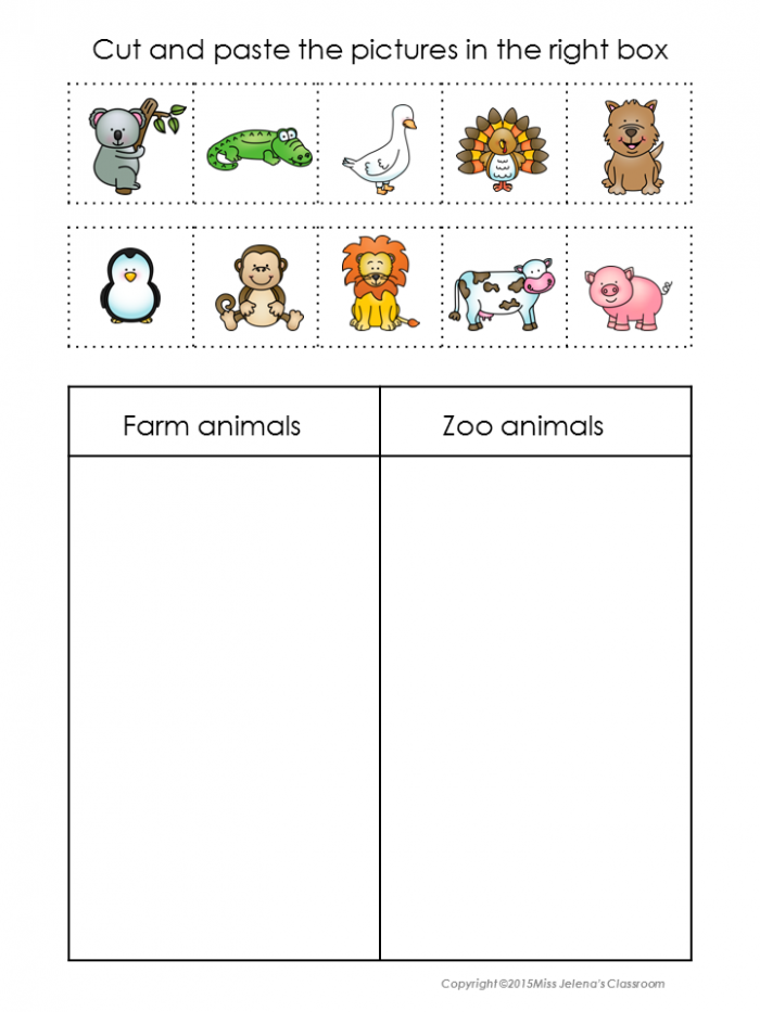 Animals Sorting Worksheets Sorting Activity For Young Learners
