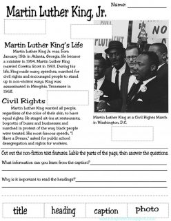 Nonfiction Text Features: Martin Luther King, Jr.