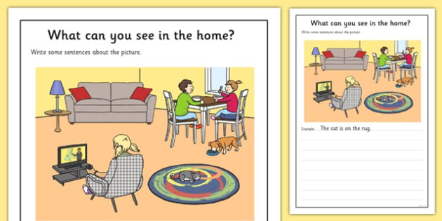 At Home Scene Writing Stimulus Picture Worksheet  Worksheet