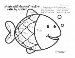 Subtraction Color By Number: Color The Fish!