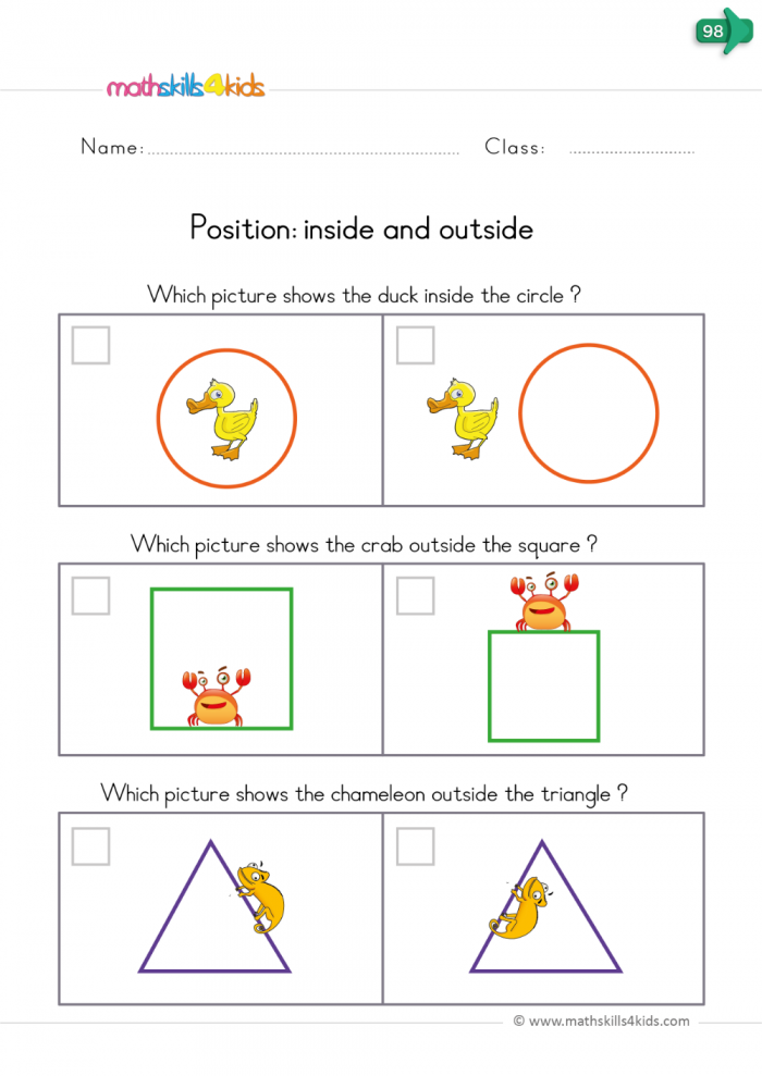 Colorful Worksheets To Encourage Kids Understanding Of Position