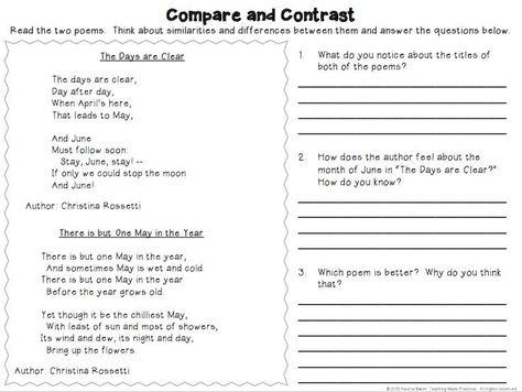 Compare And Contrast Activities Unit