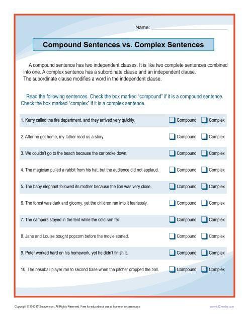 Compound Sentences Vs Complex Sentences
