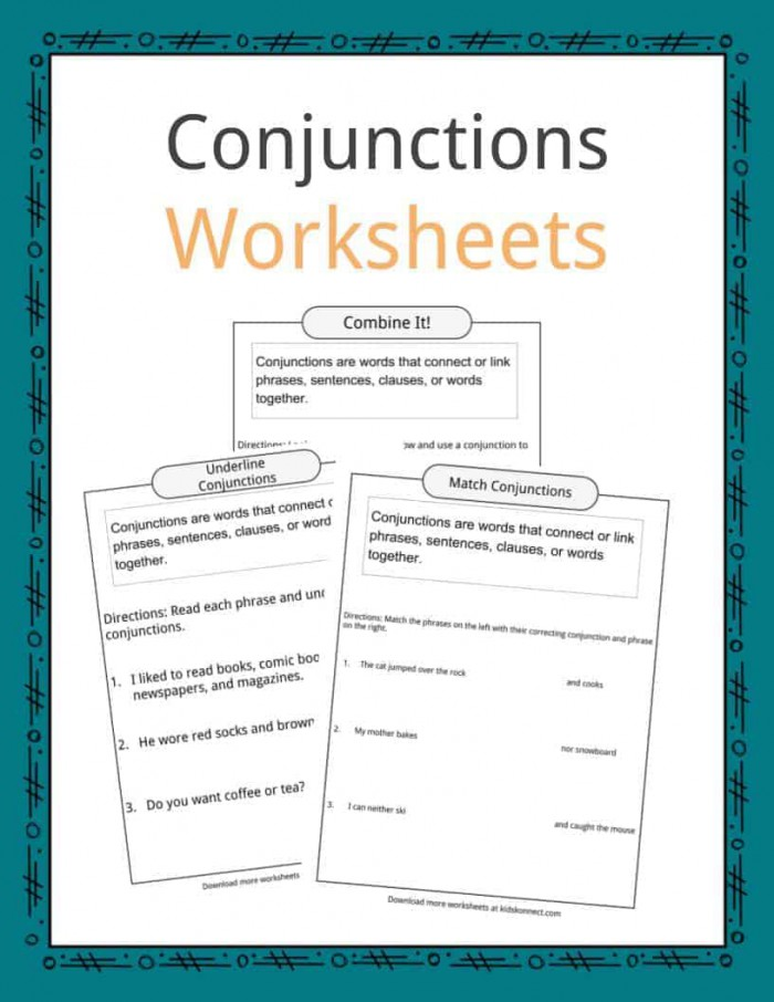 Conjunctions Examples  Definition   Worksheets For Kids
