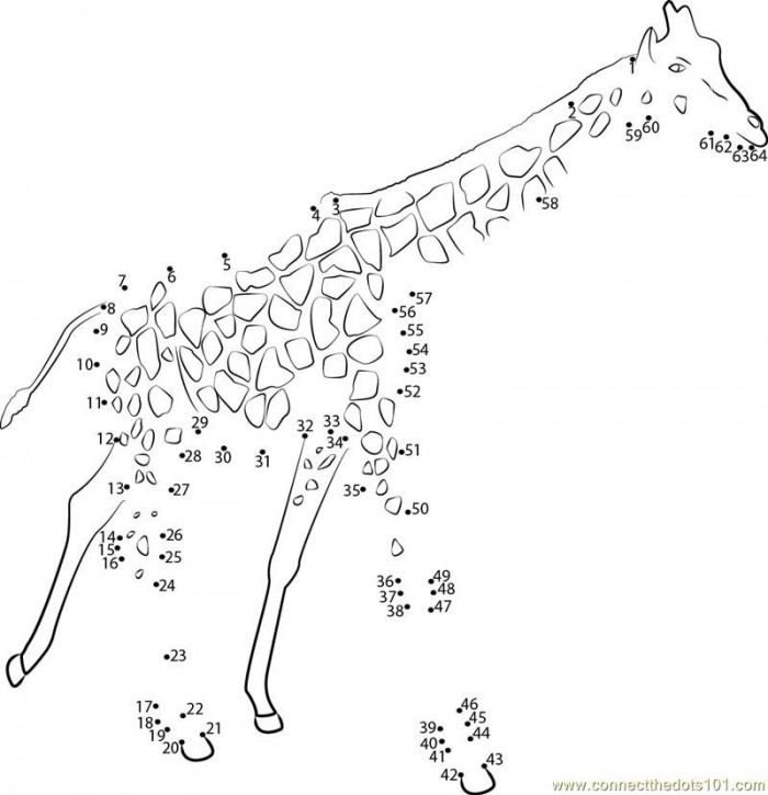 Connect The Dots Big Animal Giraffe Worksheet  Dot To Dots Page