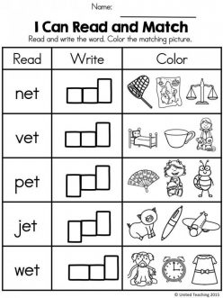 Writing Word Families: -Et Words