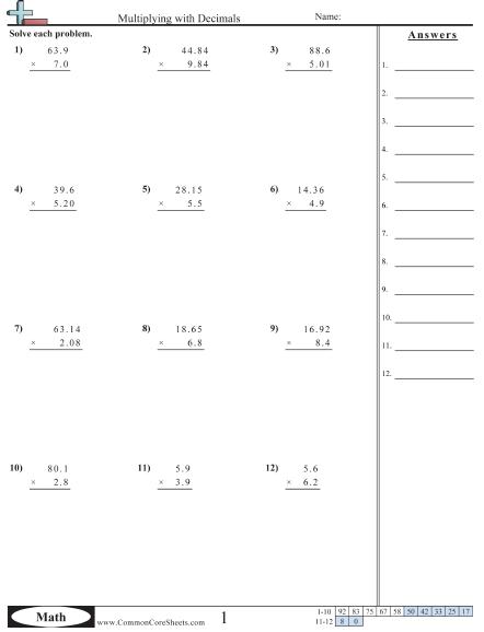 Multiplying Decimals Worksheets   99Worksheets