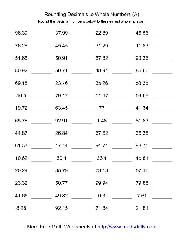 Decimals Worksheet