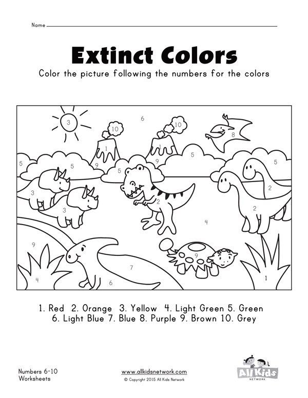 Dinosaurs Color By Numbers