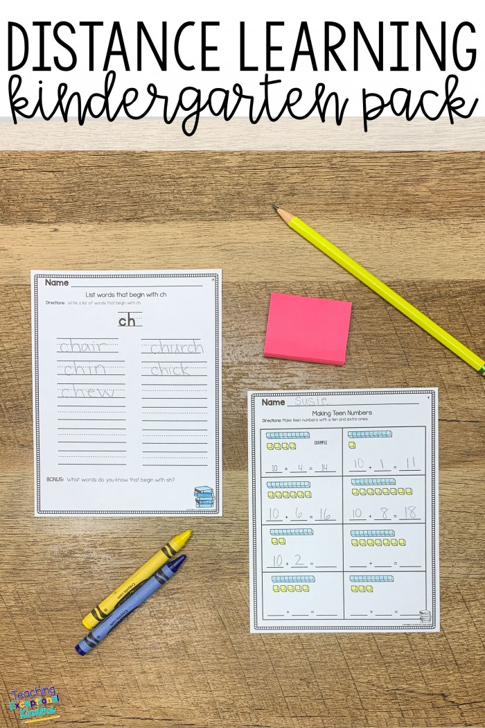 Distance Learning Printables Kindergarten Work From Home Choice