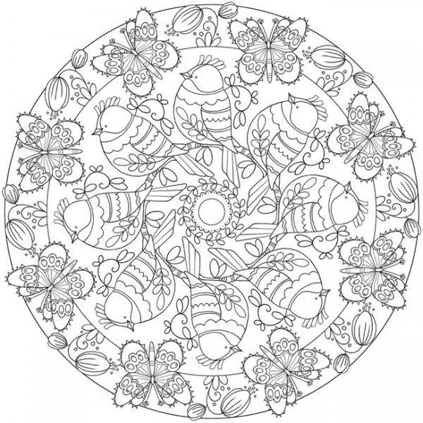 Download Spring Mandala Coloring Page