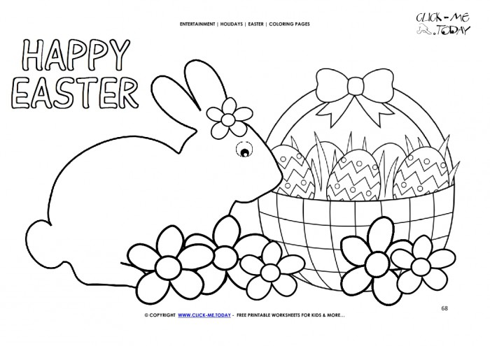 Easter Coloring Page  Happy Easter Bunny Basket With Flowers