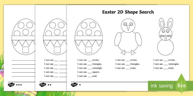 Easter D Shape Search Worksheet  Worksheet Teacher Made