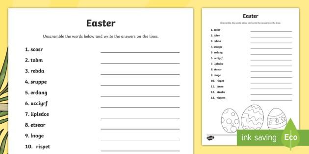Easter Word Unscramble Teacher Made