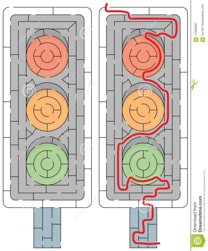 Easy Traffic Light Maze Stock Vector Illustration Of Worksheet