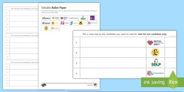 Editable Ballot Paper Worksheet  Worksheet Teacher Made