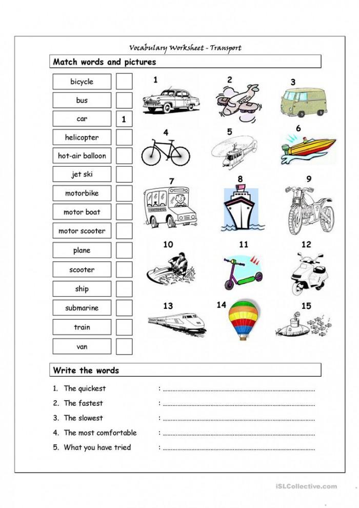 Types Of Transportation Worksheets 99Worksheets