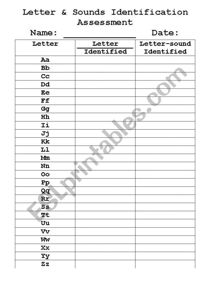 English Worksheets Letter And Sounds Assessment