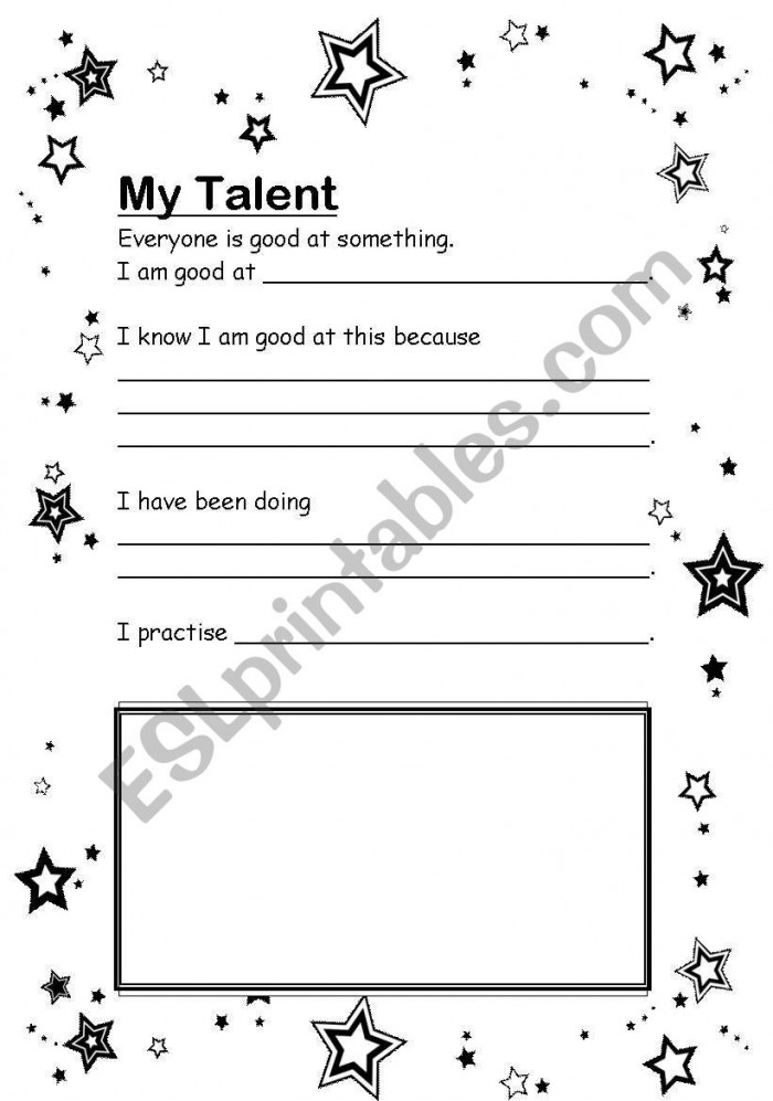 English Worksheets My Talent