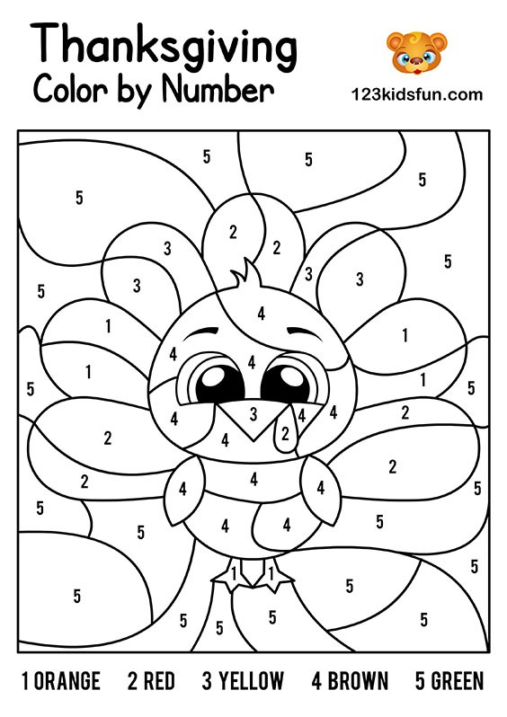 Enjoyable Thanksgiving Color By Number Worksheets