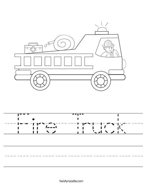 Fire Truck Coloring Pages With Firefighter Worksheet With Images