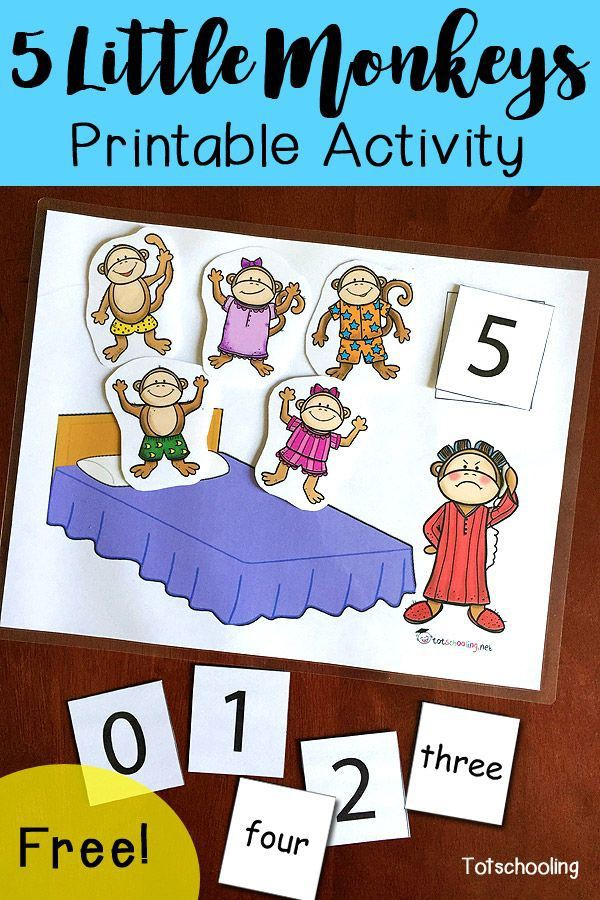 Five Little Monkeys Jumping On The Bed Printable Activity With