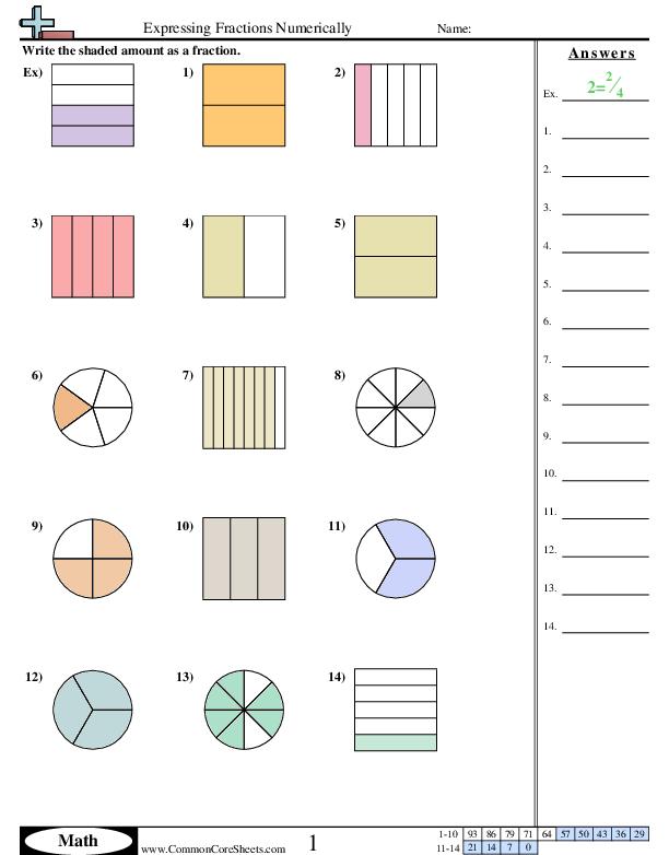 Easy Fractions Worksheets   99Worksheets