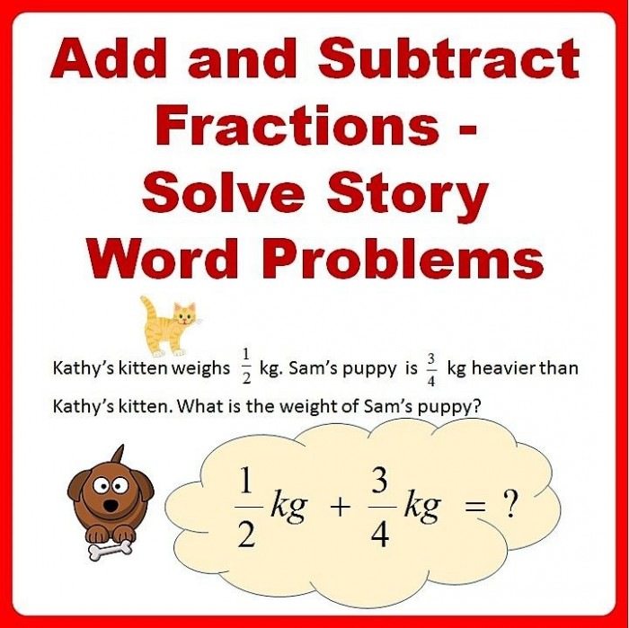 Fractions Word Problems Worksheets  Add And Subtract
