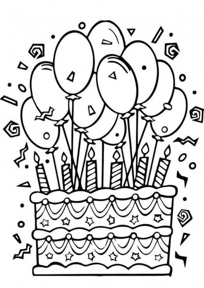 Free   Easy To Print Happy Birthday Coloring Pages