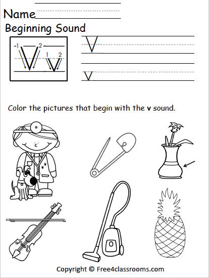 Free Beginning Sounds Worksheet  Letter V  Freeclassrooms