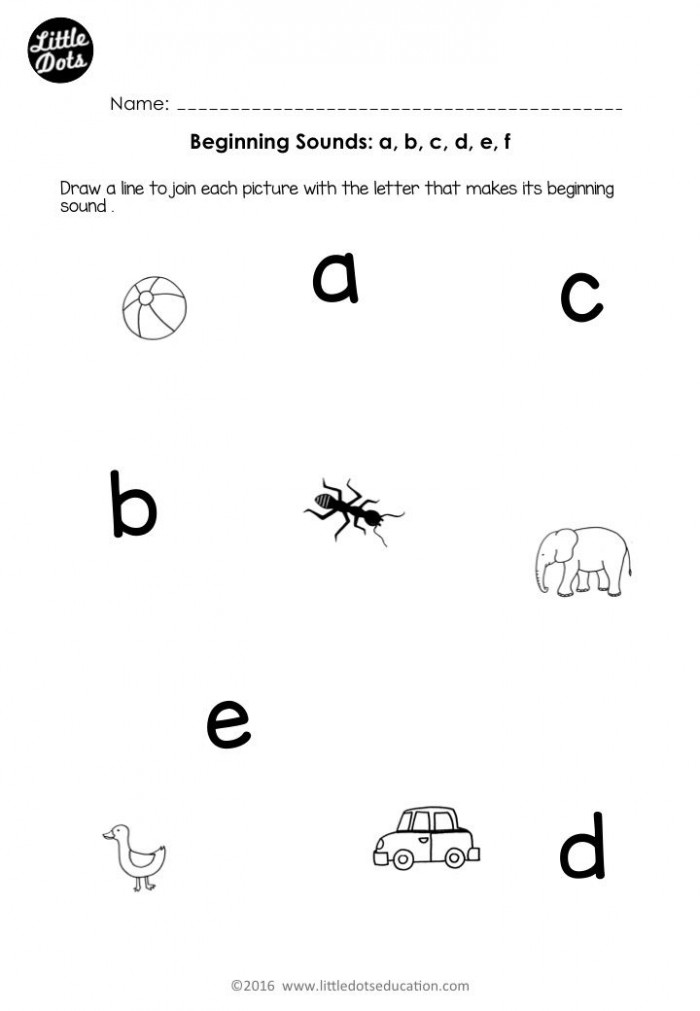 Free Beginning Sounds Worksheets For Letters A  B  C  D And E For