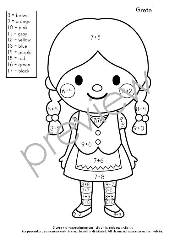 Free Color By Number Addition Pages