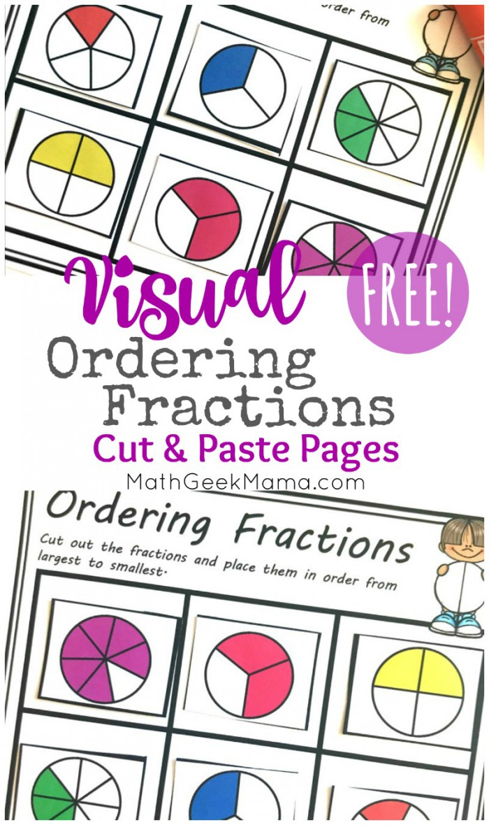 Free Comparing Fractions Worksheets Cut   Paste Visual Models