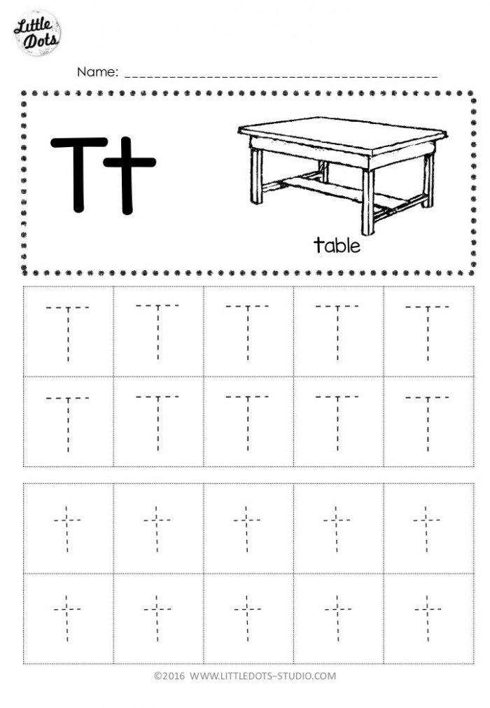 Free Letter T Tracing Worksheets