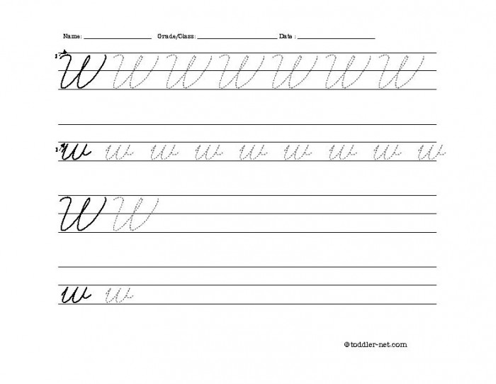 Free Printable Cursive Letter W Worksheet