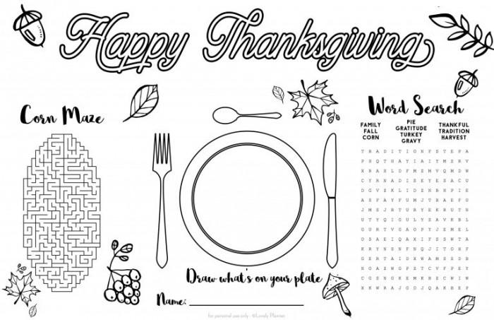 Free Printable Thanksgiving Kid Placemat