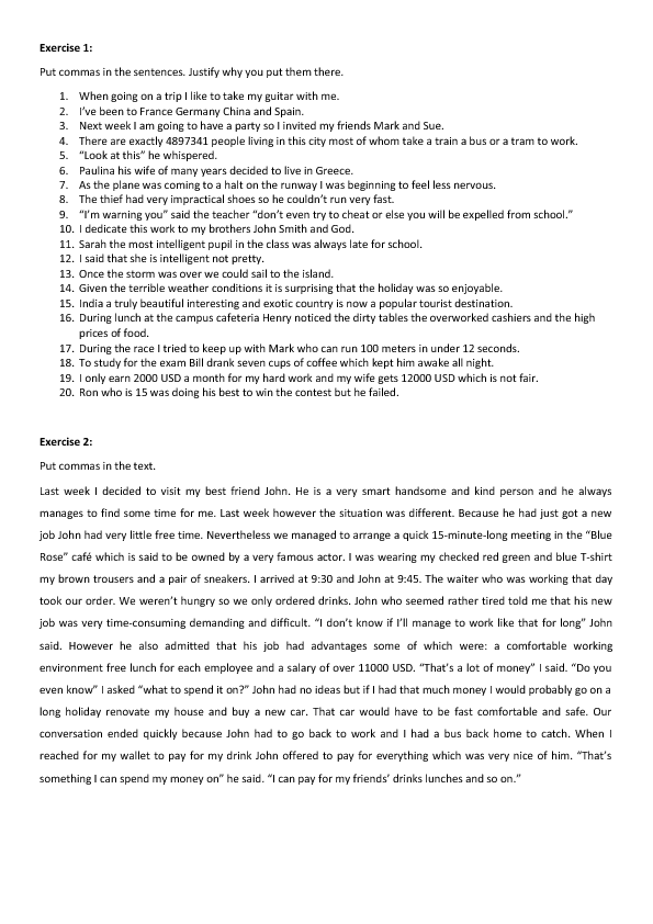 Free Punctuation Worksheets