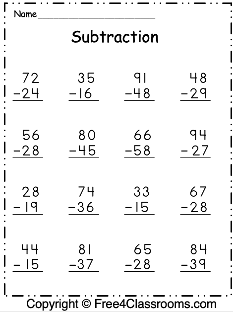 Free Subtraction Worksheets   Digit  With Regrouping